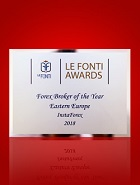 Forex Broker of the Year for Eastern Europe 2018 according to Le Fonti Awards
